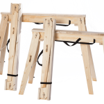"Hide-A-Horse Folding Sawhorses size comparison of the 29"" and 35"" sawhorses and folded and opened up."