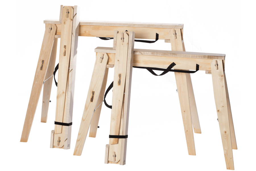 """Hide-A-Horse Folding Sawhorses size comparison of the 29"""" and 35"""" sawhorses and folded and opened up."""