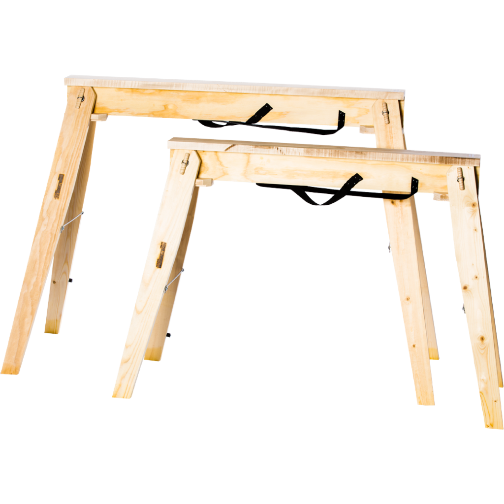 "Choose from our two model sizes, we have our standard Hide-A-Horse 29"" sawhorses and our Tall 35"" Hide-A-Horse sawhorses."