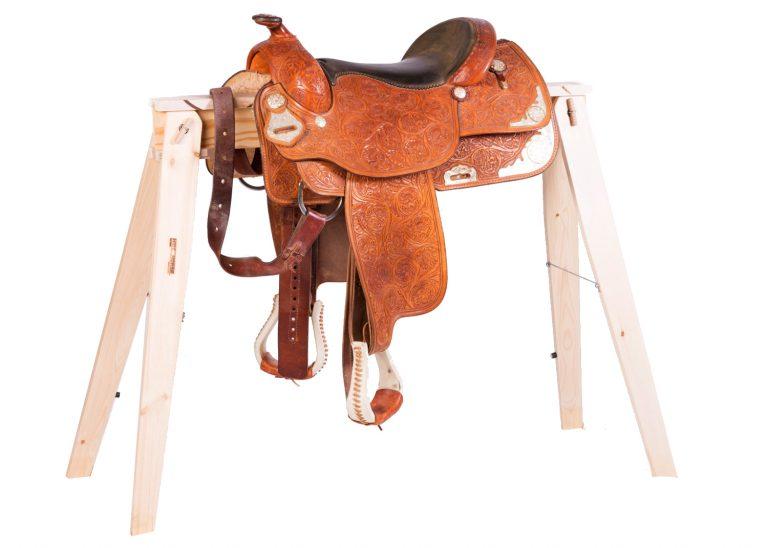 folding sawhorses as saddle rack