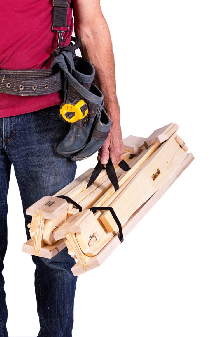 easily carry two HideAHorse folding sawhorses in one hand. shop the best folding sawhorses