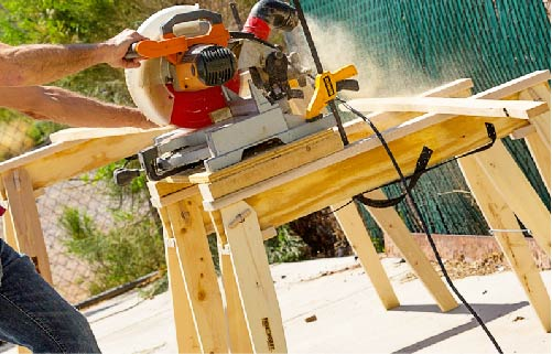 Hide A Horse Folding Sawhorses as table saw stand