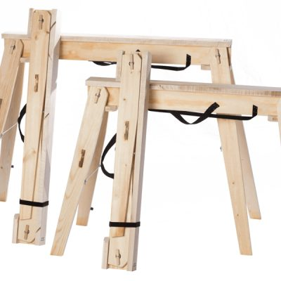 Pairs of Folding Sawhorses both Tall and Standard for comparison