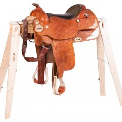 folding sawhorses as saddle rack
