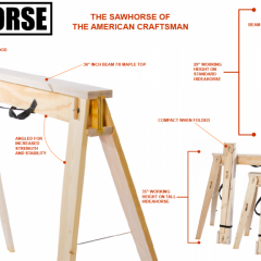 HideAHorse Dimensions breakdown of the technology and strength of the folding sawhorse shop the best folding sawhorses